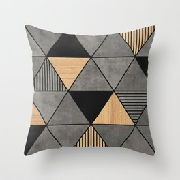 Concrete and Wood Triangles 2 Throw Pillow
