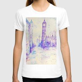 Watercolor London Landmark Big Ben Purple  T-shirt