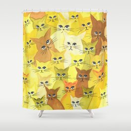 Golden Whimsical Cats Shower Curtain