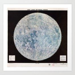 Lunar Reference Mosaic LEM-1 (Moon Map from 1966) Art Print
