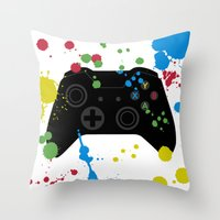 xbox Throw Pillows featuring Controller Graffiti XBox One by AngoldArts