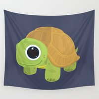turtle Wall Tapestries featuring Turtle by Adamzworld