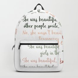 She Was Beautiful By F. Scott Fitzgerald 3 #minimalism #poem Backpack