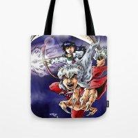 inuyasha Tote Bags featuring Inuyasha & Kagome by MarioRojas