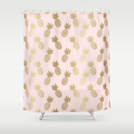 Pink & Gold Pineapples Shower Curtain