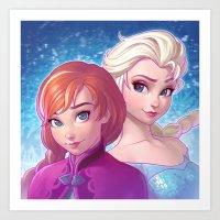 frozen Art Prints featuring Frozen by Ilya Kuvshinov