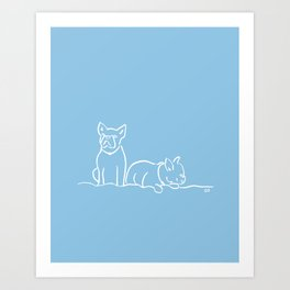 City Dogs {Frenchies} Art Print