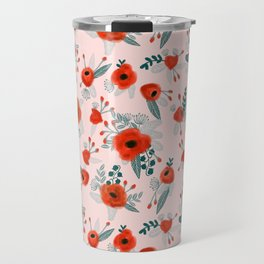 Poppy flower painted pattern floral florals prints poppies red Travel Mug