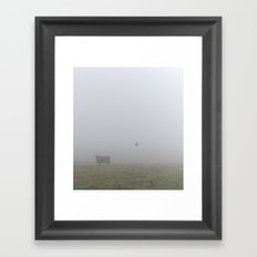 Cow and Crow Framed Art Print