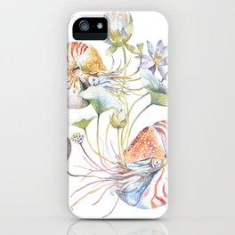 Nautilus and Lotus Surreal Watercolor Sea Animal Botanical Design iPhone Case