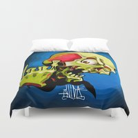 rock n roll Duvet Covers featuring Rock n' Roll Skull by Vida Graffiti