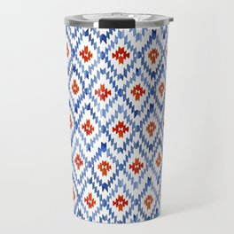blue rhombus balinese ikat mini Travel Mug