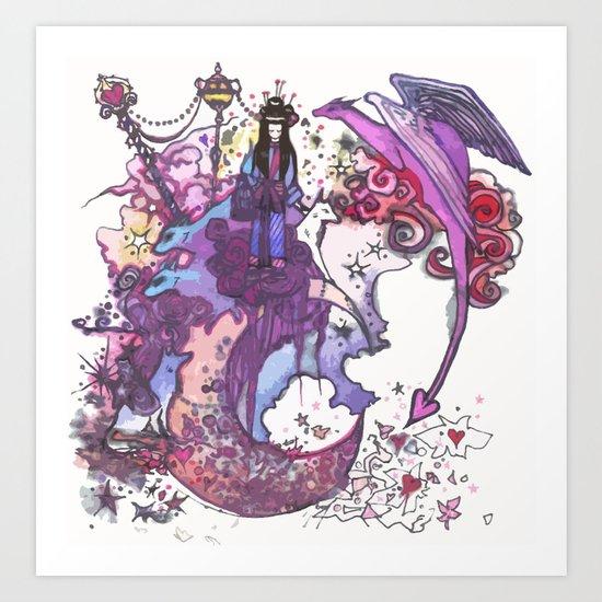 Dragon-Girl and Wolf-Boy Art Print