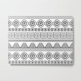 ethnic pattern black & white Metal Print