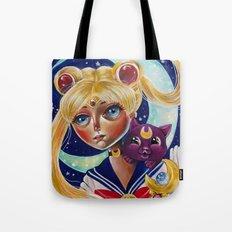 Sailor Moon and Luna Fan Art Pop Surrealism  Tote Bag