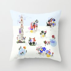 Indian miniature interpreted Throw Pillow