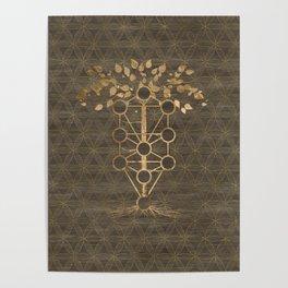 Kabbalah The Tree of Life Vintage Gold on Wood Poster