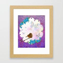Butterfly Dream Scene Jeweled Mixed Media Framed Art Print