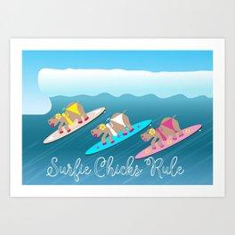 Surfie Chicks Rule Art Print