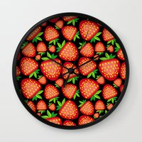 strawberry Wall Clocks featuring Strawberry by LaDa