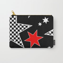 Black and White Stars andTouch of Red Carry-All Pouch