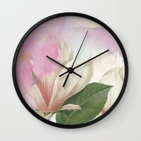 magnolia Wall Clocks featuring magnolia by clemm