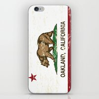 oakland iPhone & iPod Skins featuring Oakland California Republic Flag Distressed  by NorCal