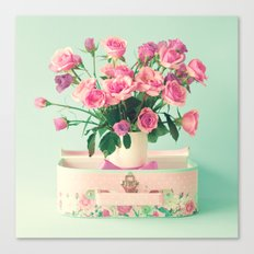 Bouquet in a vase in a lunchbox Canvas Print