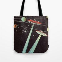 aliens Tote Bags featuring Aliens  by dreamshade