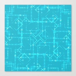 Carved squares and light rhombuses on a sky blue background. Great mood from openwork and carved squ Canvas Print