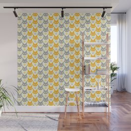Mid-century Modern Abstract Cat Pattern, Vintage Cats in Illuminating Bright Yellow and Ultimate Grey Trendy Colors of the Year 2021 Wall Mural