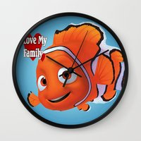 nemo Wall Clocks featuring nemo  , nemo  games, nemo  blanket, nemo  duvet cover by ira gora