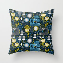 Garden of Sewing Supplies - Navy Throw Pillow