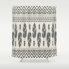Tribal Feathers-Black & Cream Shower Curtain