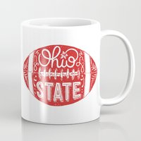 ohio state Mugs featuring Ohio State Football by Kasi Turpin