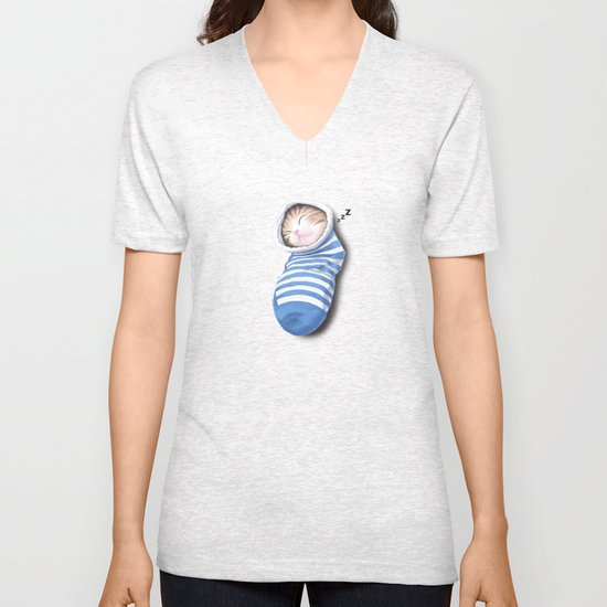 Cat in the Sock Unisex V-Neck