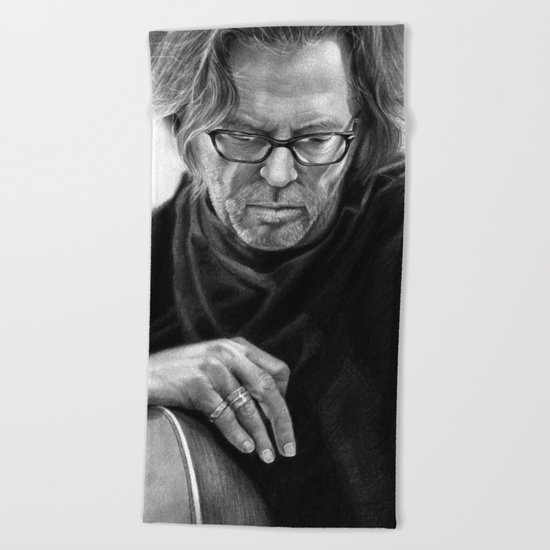 Eric Clapton PENCIL DRAWING Beach Towel