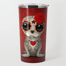 Red Day of the Dead Sugar Skull Sea Lion Baby Travel Mug