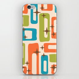 Retro Mid Century Modern Abstract Pattern 921 Orange Chartreuse Turquoise iPhone Skin