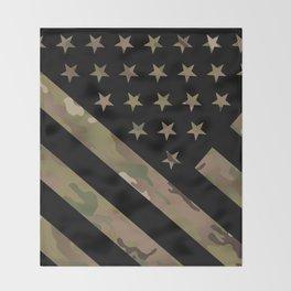 U.S. Flag: Military Camouflage Throw Blanket