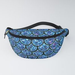Sparkly Turquoise & Blue & Glitter Mermaid Scales Fanny Pack