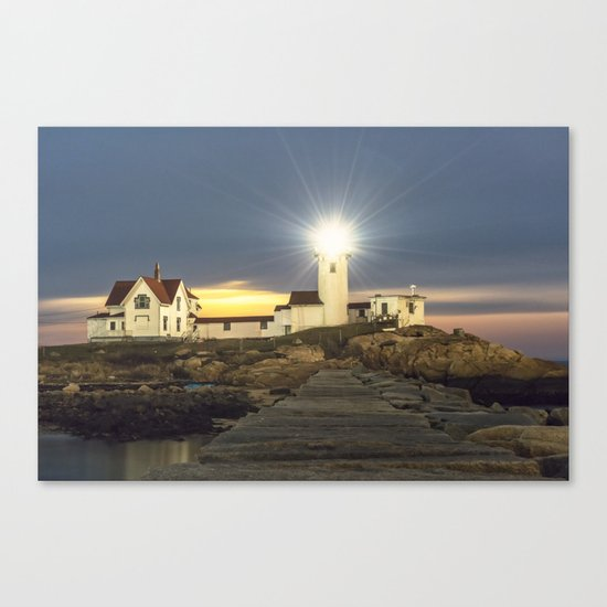 Full moon rising over Eastern point Lighthouse #2 Canvas Print