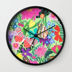 Butterfly and Moths Pattern - Green Wall Clock