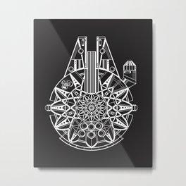Millennium Falcon Mandala Illustration Metal Print