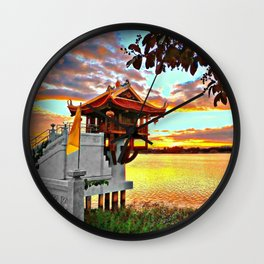 Shrine On The Lake. Wall Clock