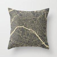 paris map Throw Pillows featuring Paris Map by Map Map Maps