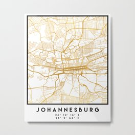 JOHANNESBURG SOUTH AFRICA CITY STREET MAP ART Metal Print