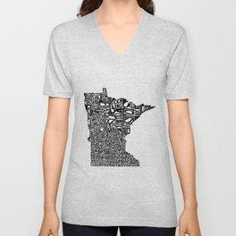 Typographic Minnesota Unisex V-Neck