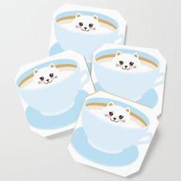 Cute Kawai cat in blue cup Coaster