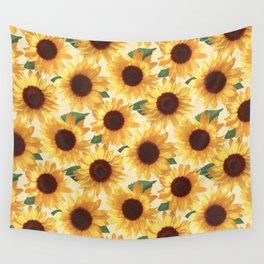 Happy Yellow Sunflowers Wall Tapestry